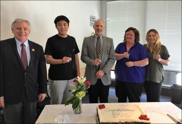Chancellor Fred Wood, Chis Liu (President of the ASDVC), Ted Wieden (President of the College), Beth McBrien (President of the Academic Senate), and Rene Savage (Vice President of the Classified Senate)