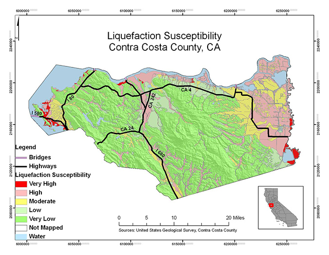 liquefaction susceptibility - contra costa county - student project