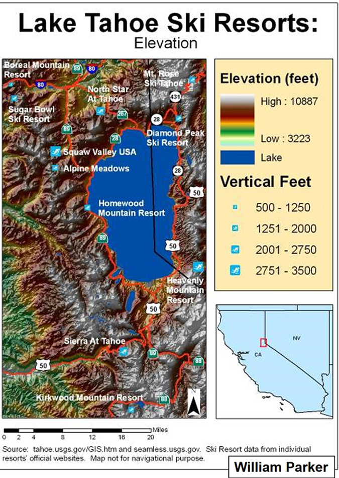 elevation Tahoe ski level resorts