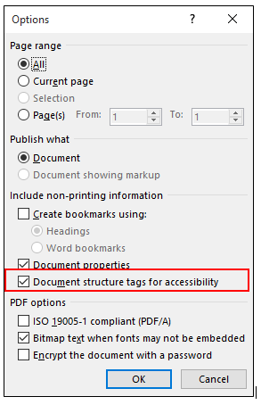Document structure tags for accessibility button