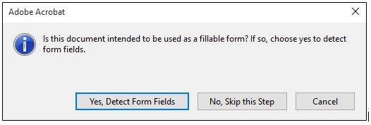 Fillable form prompt
