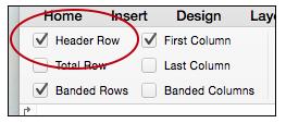 Header row button