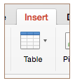 Insert and table button