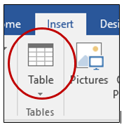 Insert table button
