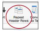 Repeat header row button