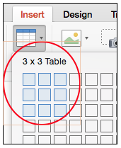 Insert table dimensions