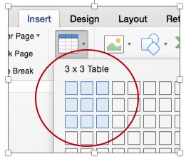 Set table dimensions