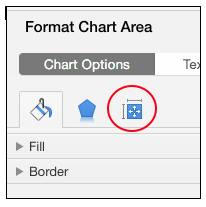 size and properties button