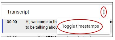 Toggle timestamps