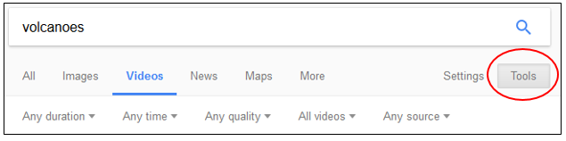 tools button in google video search