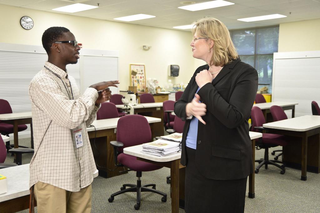 Student and interpreter