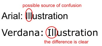 Comparison of Arial and Verdana fonts