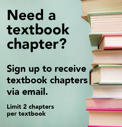 Need a textbook Chapter? Sign up to receive textbook chapters via email.