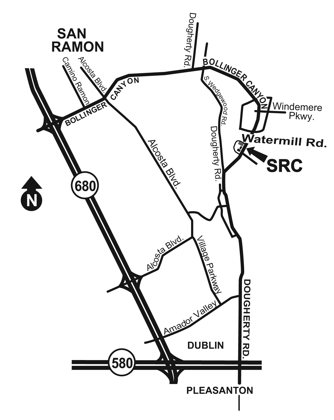 Map to San Ramon campus